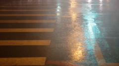 Heavy rain on pedestrian crossing during typhoon Stock Footage
