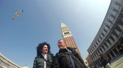 Romantic couple walk on San Marco squar in Venice, Italy. 4k uhd stock footag Stock Footage