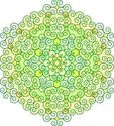 Abstract vector colorful round lace design in mono line style - mandala, deco - stock illustration