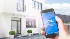 Smart home, homeautomation with mobile phone Stock Footage