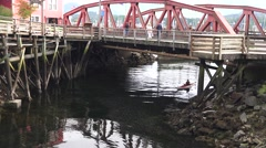 Kayaks, tourist arriving on Creek Street below bridge Stock Footage