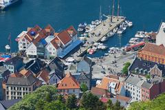 View to the buildings and port in Bergen, Norway. Stock Photos