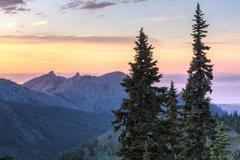 Hurricane Ridge Sunset - stock photo