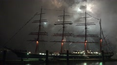 4k Tall ship Kruzenshtern with big fireworks timelapse Stock Footage