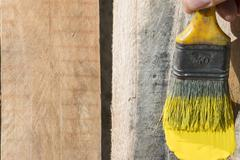 Closeup Of Pine Plank Being Painted In Yellow Color - stock photo