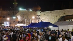 Large Crowd at Public Ceremony at Western Wall Stock Footage