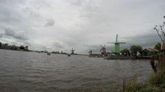 Zaandam Zaanse Schans view of the turning blades of the windmills Stock Footage