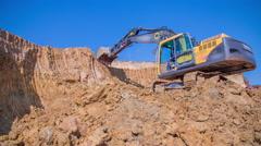 Digging Excavator Activities Stock Footage
