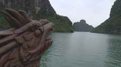 Figurehead on the ship, Hạ Long Bay, North Vietnam Stock Footage