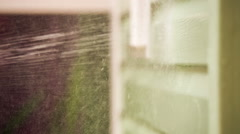 Person Washing House Wall With Jet Of Water And Brush Stock Footage