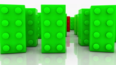 Toy blocks in green and red Stock Footage