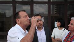 (L to R) Mayor of Tel Aviv Ron Huldai, his advisor Eitan Schwarz - stock footage