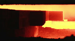 Steel industry background, Slab is charging in Furnace. Stock Footage