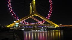 Ferris wheel, Tianjin Eye, China Stock Footage
