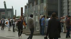 Parts of Berlin Wall in Postdamer Platz Stock Footage