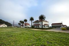Houses and grass field near Golden Gate Bridge, San Francisco, California, Stock Photos