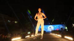 High fashion catwalk super model runway during White Night Europa event - stock footage