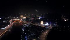 Tianjin at night, Chinese city Stock Footage