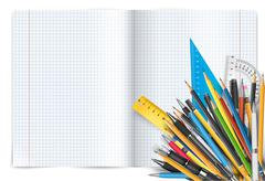 Notepad and pens - stock illustration