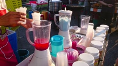Ice Cream Vendor Prepares Ice Blended Drink Stock Footage