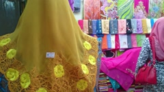 Muslim Hijab Woman Shopping At Textile Shop Stock Footage