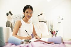 Fashion designer drawing in studio Stock Photos