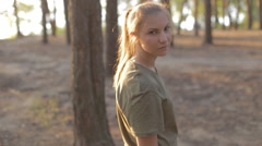 Girl in camouflage in the army Stock Footage