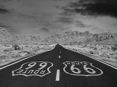Route 66 Black and White - stock photo