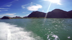 Wake of Speedboat on Colorado River Stock Footage