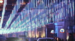 Moscow, Russia, 2015 - Bolshaya Dmitrovka street at night. Stock Footage