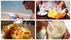 Healthy Food - Montage. Fresh Ftuits for Breakfast Stock Footage