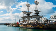 French Frigate Hermione in the Port of Brest, Brittany, France Stock Footage