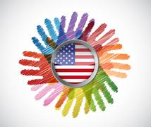 Stock Illustration of us flag over diversity hands circle