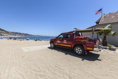 Los Angeles County Lifeguard Truck in Malibu California Stock Photos
