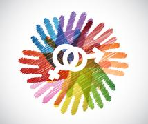 Stock Illustration of male and female symbols over diversity hands