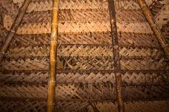 Typical rustic ceiling roof in hut cabin amazon rainforest, Yasuni National Park - stock photo