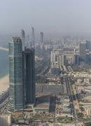 Aerial view of high rise buildings in Abu Dhabi cityscape, Abu Dhabi Emirate, Stock Photos