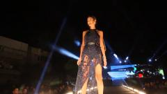 High fashion catwalk super model runway during White Night Europa event Stock Footage