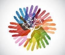 tree over diversity hands circle - stock illustration
