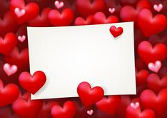 Blank Love Note Paper Card Surrounded by Floating Red Heart - stock illustration