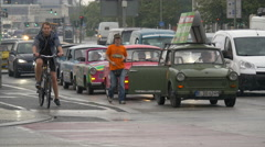 Trabant cars waiting at the traffic light in Berlin Stock Footage
