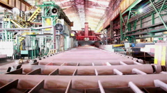 Industry background, Background of industry steel, Hot slab runs through descale Stock Footage