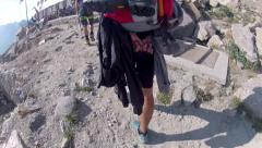 Climbers expedition climbing on rocky path toward Mont Blanc Alps Stock Footage