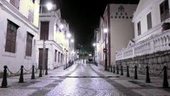 Macau - 22 November 2013: St. Lazarus district area at night Stock Footage