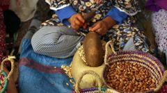 Berber woman produce Argan oil in a traditional way in Morocco Stock Footage