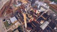 Breathtaking Aerial Flyover of Factory, Smoke Stack, Industrial, Paper Mill Stock Footage
