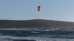 Kite surfing, long run. Stock Footage