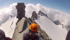 Mountaineer pov view from Grand Paradiso summit on Alps climbing expedition Stock Footage