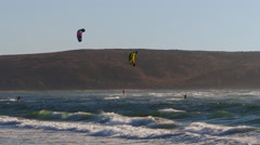 Kite surfing on a windy day Stock Footage