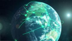Global Network - Green - stock footage